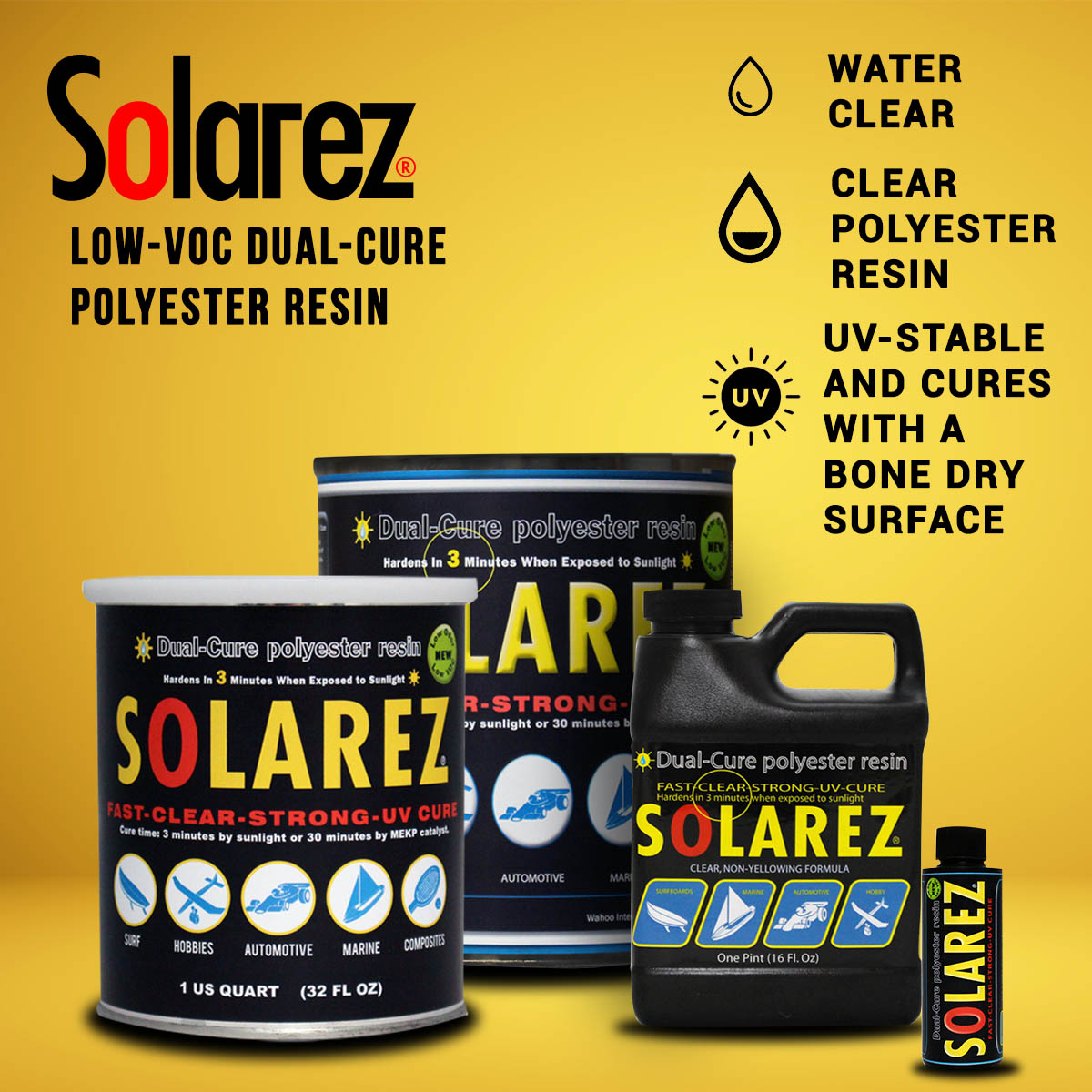 Low-VOC Dual-Cure Polyester Resin | Solarez UV Resins
